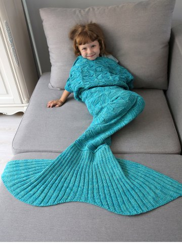 Discount Spiral Algae Shape Crochet Knit Mermaid Blanket Throw For Kids OCEAN BLUE