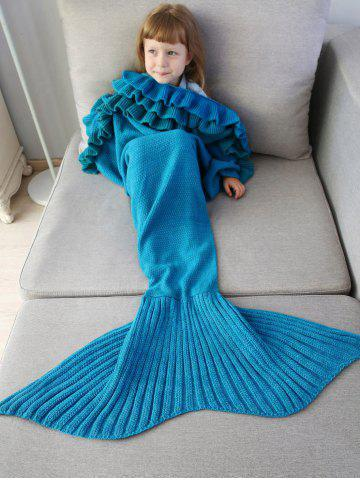 Outfits Ruffles Embellished Knit Mermaid Blanket Throw For Kids BLUE