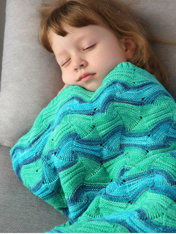 Outfits Creek Striped Crochet Knit Mermaid Blanket Throw For Kids - GREEN  Mobile