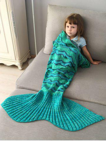 Creek Striped Crochet Knit Mermaid Blanket Throw For Kids - Green