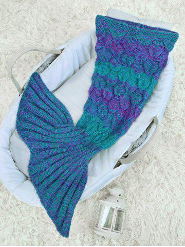 Cheap Woolen Yarn Crochet Knit Mermaid Blanket Throw For Baby - GREEN  Mobile