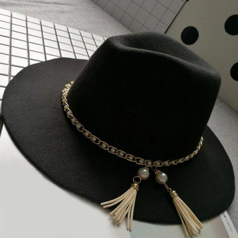 Outfits Wide Brim Felt Fedora Hat with Faux Pearl Chain BLACK