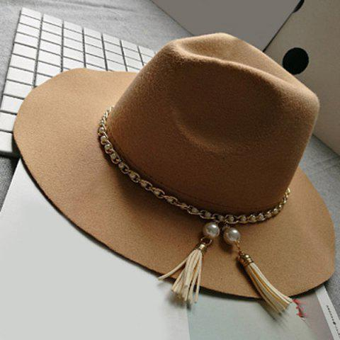 Fancy Wide Brim Felt Fedora Hat with Faux Pearl Chain CAMEL
