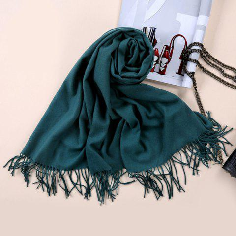 Faux Cashmere Blanket Pashmina with Fringed Edge - Blackish Green