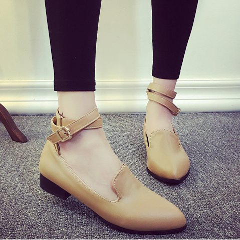 Affordable Pointed Toe Ankle Strap Flat Shoes