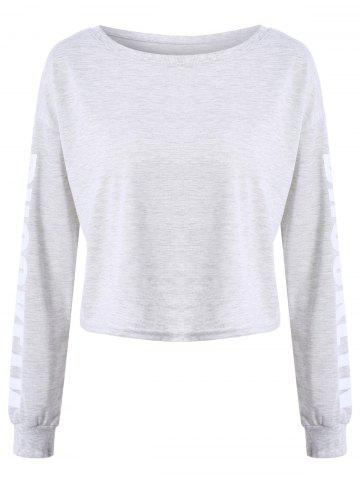 Chic Brooklyn Letter Cropped Long Sleeve Top GRAY S