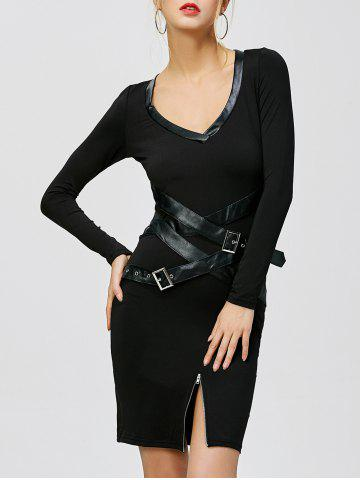 Sale Slit Belted Midi Bodycon Party Dress - S BLACK Mobile