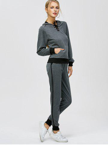 Outfit Criss-Cross Hooded Sweat Jogging Suit - 2XL GRAY Mobile