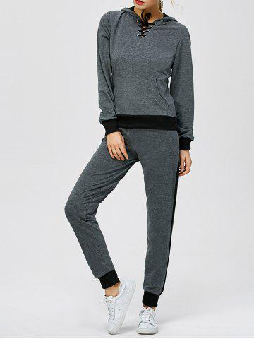 Best Criss-Cross Hooded Sweat Jogging Suit - 2XL GRAY Mobile