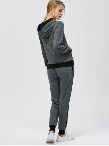 Chic Criss-Cross Hooded Sweat Jogging Suit - 2XL GRAY Mobile