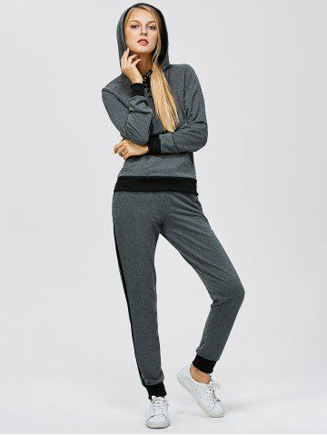 Cheap Criss-Cross Hooded Sweat Jogging Suit - 2XL GRAY Mobile