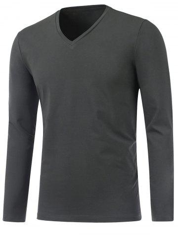 Best Slim Fit V Neck Long Sleeve Tee DEEP GRAY 3XL