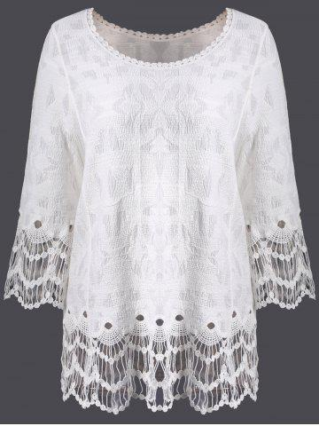 Lace Hollow Out Long Sleeve Cover Up - White - One Size