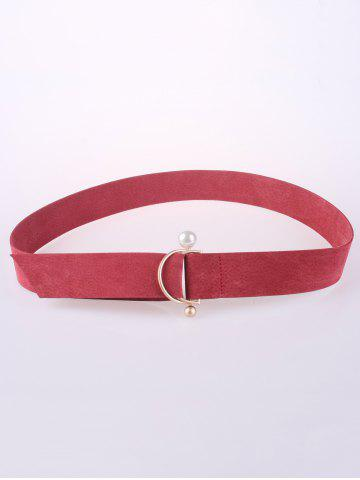 Affordable Coat Wear D Buckle Faux Suede Waist Belt - WATERMELON RED  Mobile