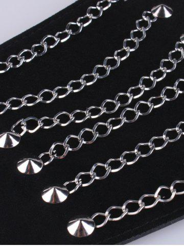 Chic Metal Chains Elastic Extra Wide Belt - BLACK  Mobile