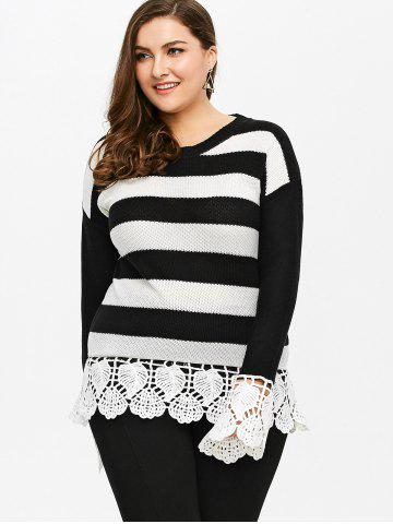 Affordable Plus Size Lace Insert Striped Sweater - 5XL BLACK STRIPE Mobile