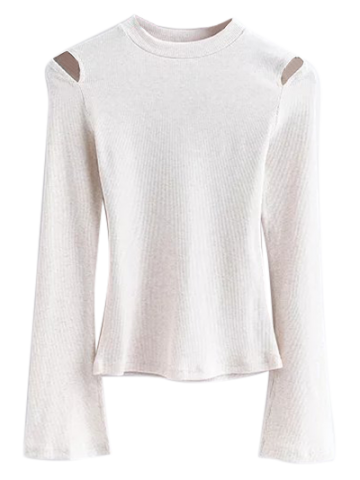 Cut Out Flare Sleeve Knitwear