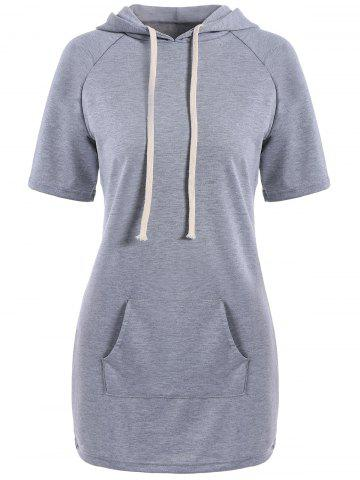 Outfits Mini Kangaroo Hooded Casual Dress With Pockets GRAY M
