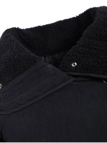 Outfits Zip Shearling Panel Cropped Padded Jacket - ONE SIZE BLACK Mobile