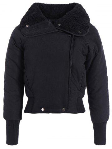Hot Zip Shearling Panel Cropped Padded Jacket BLACK ONE SIZE