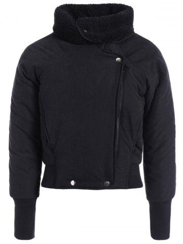 Fashion Zip Shearling Panel Cropped Padded Jacket - ONE SIZE BLACK Mobile