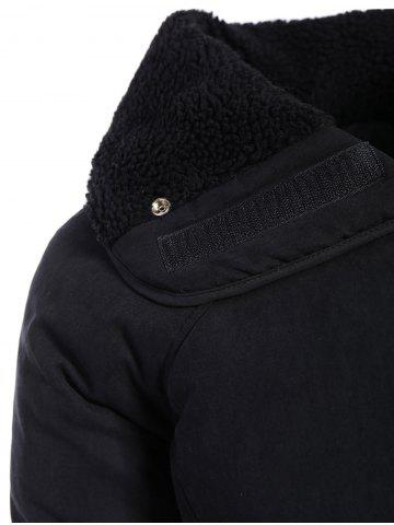 New Zip Shearling Panel Cropped Padded Jacket - ONE SIZE BLACK Mobile