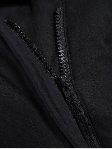 Store Zip Shearling Panel Cropped Padded Jacket - ONE SIZE BLACK Mobile