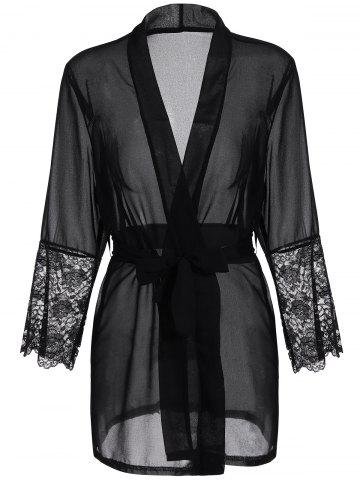 New Long Sleeve Lace Panel Sheer Wrap Robe BLACK S