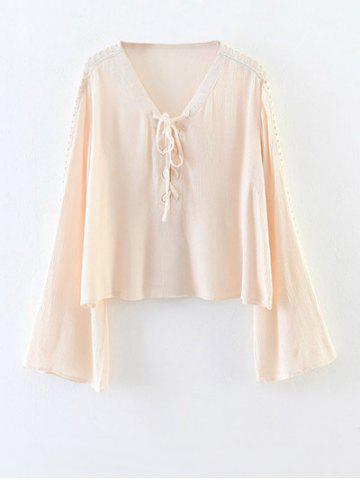 Buy Chiffon Lace-Up Blouse APRICOT L