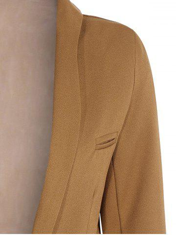 Outfits Long Front Pockets Blazer - M BROWN Mobile