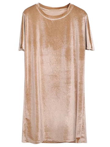 Shop Shift Velvet Short T Shirt Casual Dress GOLDEN ONE SIZE