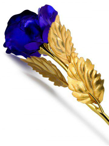 Shop 1PCS Gold Plated Rose Flower Birthday Gift - BLUE  Mobile