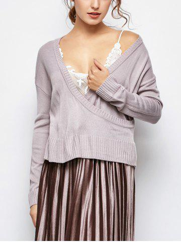 V Neck Surplice lâche Sweater
