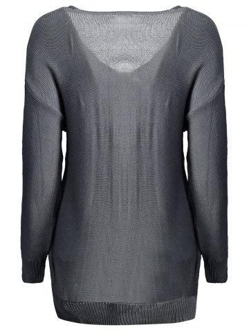 Outfits Long Sleeves V-Neck Cross Pullover Sweater - XL DEEP GRAY Mobile