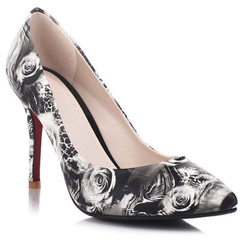 Online Rose Printed Faux Leather Pumps
