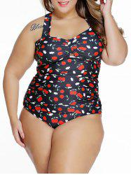 Halter Plus Size Cherry Print Tankini Set