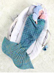 Fish Scale Crochet Knitted Bedroom Mermaid Blanket Throw For Baby - COLORMIX
