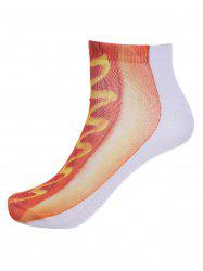3D Hot Dog Bread Print Crew Crazy Ankle Socks - ORANGE RED
