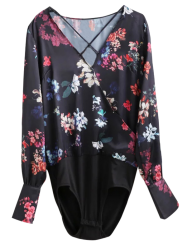 Criss Cross Floral Surplice Bodyduit Top