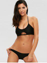 Halter Casual Cutout Bikini Set