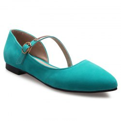 Pointed Toe Strappy Flat Shoes - BLUE GREEN