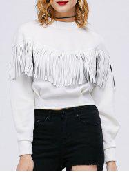 Faux Leather Insert Fringed Sweatshirt