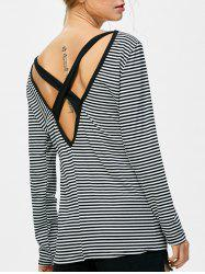 Striped Criss Cross Open Back T-Shirt