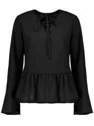 Flare Sleeve Lace Up Peplum Top -