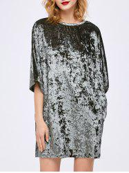 Dolman Sleeve Velvet Dress with Pocket