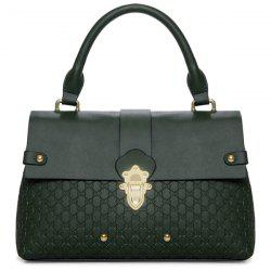 Textured Faux Leather Push Lock Handbag - GREEN