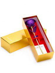 Wedding Decor Gold Plated Rose Flower with Gift Box - PURPLE