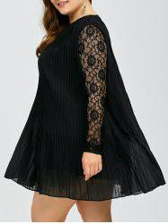 Plus Size Lace Trim Pleated Dress