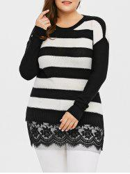 Plus Size Striped Lace Insert Knit Sweater - BLACK