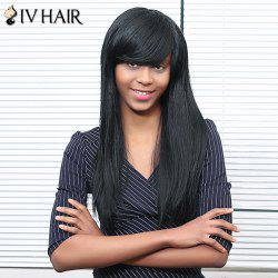Siv Hair Long Inclined Bang Straight Human Hair Wig